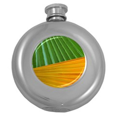 Pattern Colorful Palm Leaves Round Hip Flask (5 Oz)