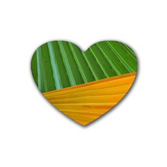 Pattern Colorful Palm Leaves Rubber Coaster (heart)