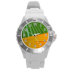 Pattern Colorful Palm Leaves Round Plastic Sport Watch (l)