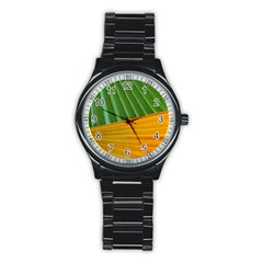 Pattern Colorful Palm Leaves Stainless Steel Round Watch