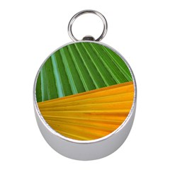 Pattern Colorful Palm Leaves Mini Silver Compasses