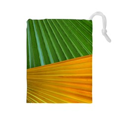 Pattern Colorful Palm Leaves Drawstring Pouches (large)
