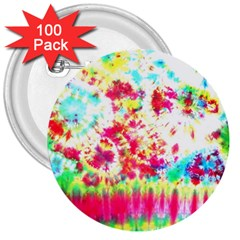Pattern Decorated Schoolbus Tie Dye 3  Buttons (100 Pack)