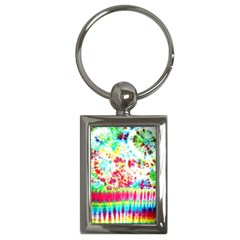 Pattern Decorated Schoolbus Tie Dye Key Chains (rectangle)