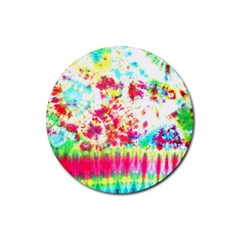Pattern Decorated Schoolbus Tie Dye Rubber Round Coaster (4 Pack)