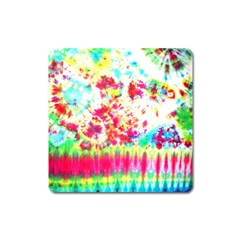Pattern Decorated Schoolbus Tie Dye Square Magnet