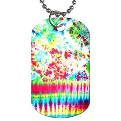 Pattern Decorated Schoolbus Tie Dye Dog Tag (one Side)