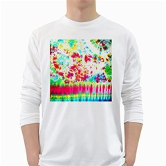 Pattern Decorated Schoolbus Tie Dye White Long Sleeve T Shirts