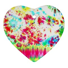 Pattern Decorated Schoolbus Tie Dye Heart Ornament (two Sides)