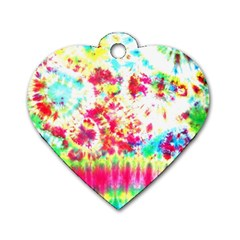 Pattern Decorated Schoolbus Tie Dye Dog Tag Heart (one Side)