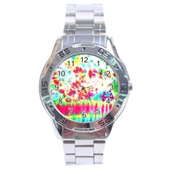 Pattern Decorated Schoolbus Tie Dye Stainless Steel Analogue Watch