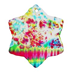 Pattern Decorated Schoolbus Tie Dye Snowflake Ornament (two Sides)