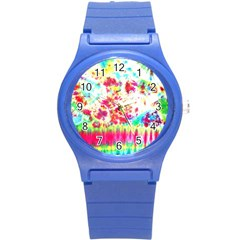 Pattern Decorated Schoolbus Tie Dye Round Plastic Sport Watch (s)