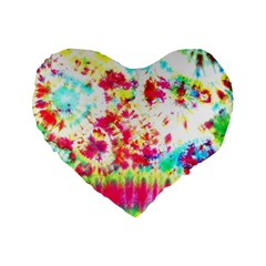 Pattern Decorated Schoolbus Tie Dye Standard 16  Premium Heart Shape Cushions