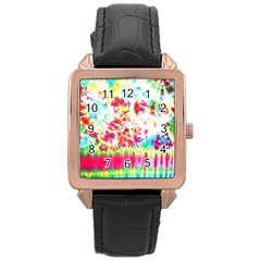 Pattern Decorated Schoolbus Tie Dye Rose Gold Leather Watch