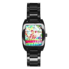 Pattern Decorated Schoolbus Tie Dye Stainless Steel Barrel Watch