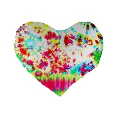 Pattern Decorated Schoolbus Tie Dye Standard 16  Premium Flano Heart Shape Cushions