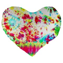 Pattern Decorated Schoolbus Tie Dye Large 19  Premium Flano Heart Shape Cushions