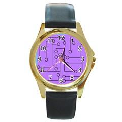 Peripherals Round Gold Metal Watch