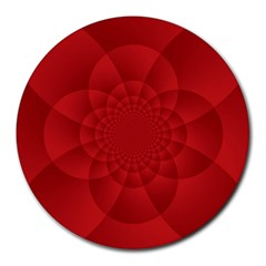 Psychedelic Art Red  Hi Tech Round Mousepads