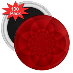 Psychedelic Art Red  Hi Tech 3  Magnets (100 Pack)