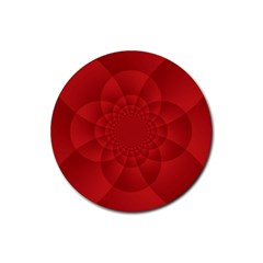 Psychedelic Art Red  Hi Tech Rubber Coaster (Round)