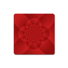 Psychedelic Art Red  Hi Tech Square Magnet