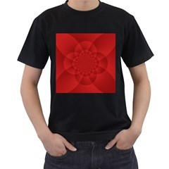 Psychedelic Art Red  Hi Tech Men s T Shirt (black) (two Sided)
