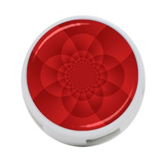 Psychedelic Art Red  Hi Tech 4 Port Usb Hub (two Sides)