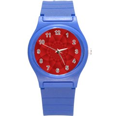 Psychedelic Art Red  Hi Tech Round Plastic Sport Watch (s)
