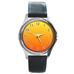 Rainbow Yellow Orange Background Round Metal Watch