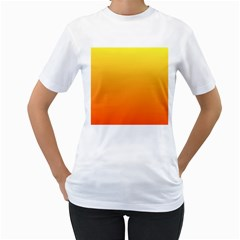Rainbow Yellow Orange Background Women s T-Shirt (White) (Two Sided)