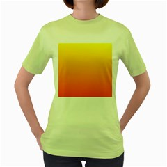 Rainbow Yellow Orange Background Women s Green T-Shirt