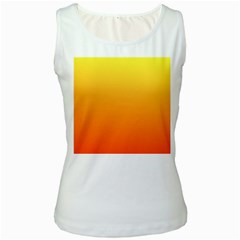 Rainbow Yellow Orange Background Women s White Tank Top