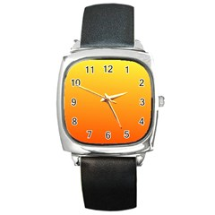 Rainbow Yellow Orange Background Square Metal Watch