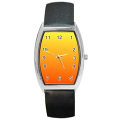 Rainbow Yellow Orange Background Barrel Style Metal Watch