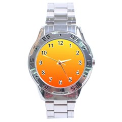 Rainbow Yellow Orange Background Stainless Steel Analogue Watch
