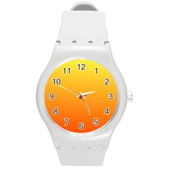 Rainbow Yellow Orange Background Round Plastic Sport Watch (m)