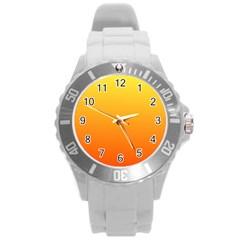 Rainbow Yellow Orange Background Round Plastic Sport Watch (l)
