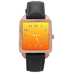 Rainbow Yellow Orange Background Rose Gold Leather Watch