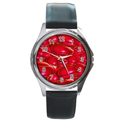 Red Abstract Cherry Balls Pattern Round Metal Watch