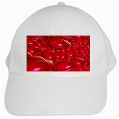 Red Abstract Cherry Balls Pattern White Cap