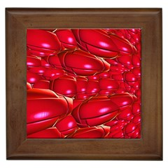 Red Abstract Cherry Balls Pattern Framed Tiles