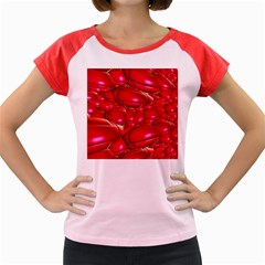 Red Abstract Cherry Balls Pattern Women s Cap Sleeve T Shirt