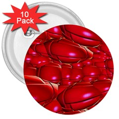 Red Abstract Cherry Balls Pattern 3  Buttons (10 Pack)