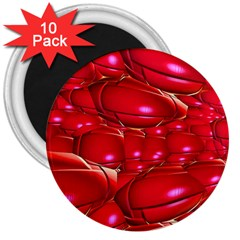 Red Abstract Cherry Balls Pattern 3  Magnets (10 Pack)