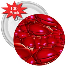 Red Abstract Cherry Balls Pattern 3  Buttons (100 Pack)