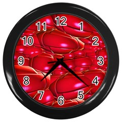 Red Abstract Cherry Balls Pattern Wall Clocks (black)