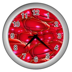 Red Abstract Cherry Balls Pattern Wall Clocks (silver)