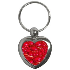 Red Abstract Cherry Balls Pattern Key Chains (heart)